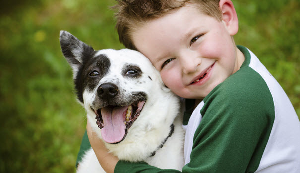 Little Boy With His Beloved Dog